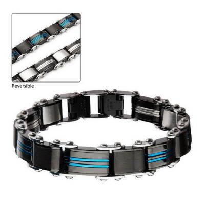 Double Sided Stainless Steel Blue Plated and Black Plated Reversible Bracelet
