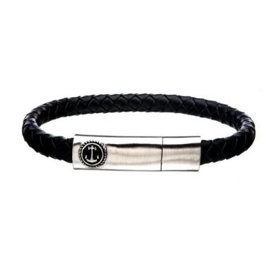 Black Leather with Anchor in Brushed Steel Clasp Bar Bracelet
