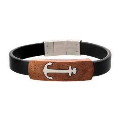 Black Leather with Anchor in Red Wood ID Bracelet
