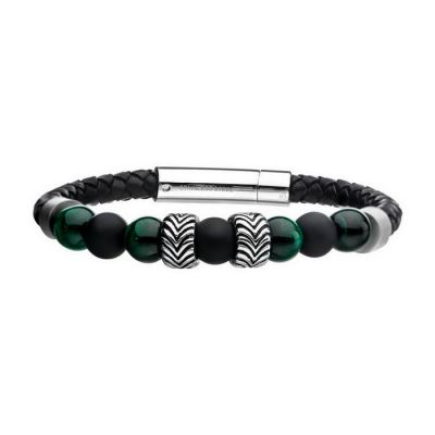 Black Genuine Leather with Steel and Tiger Eye Beads Hybrid Blue Malachite Bracelet