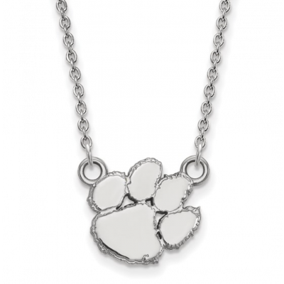 Sterling Silver Clemson Tiger Paw Necklace