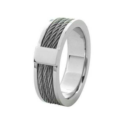 Steel Cable Inlayed Comfort Fit Ring