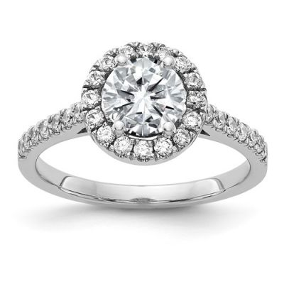 14K White Gold Round Halo Engagement Ring G H I True Light Moissanite