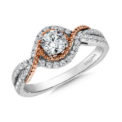 14K White and Rose Gold Engagement Rings