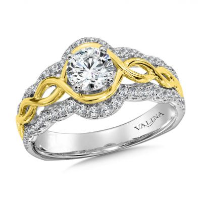 14K White and Yellow Gold Engagement Rings