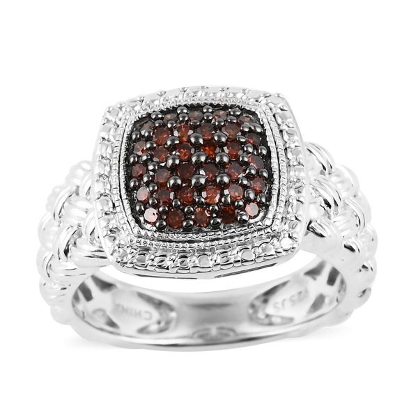 Sterling Silver & Red Diamond Ring